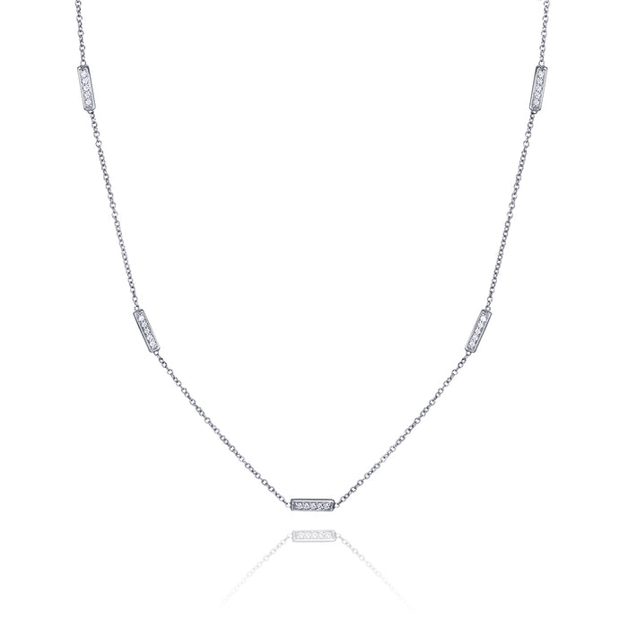 lafia straight and narrow diamond line segment necklace white gold