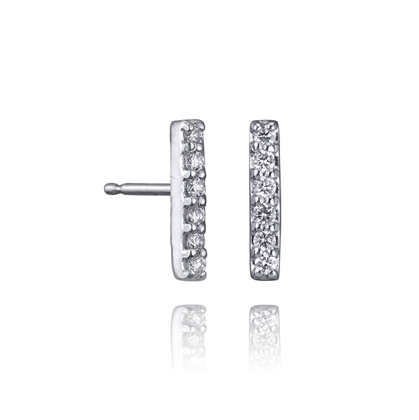 lafia straight and narrow diamond line stud white gold
