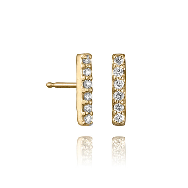 lafia straight and narrow diamond line stud yellow gold