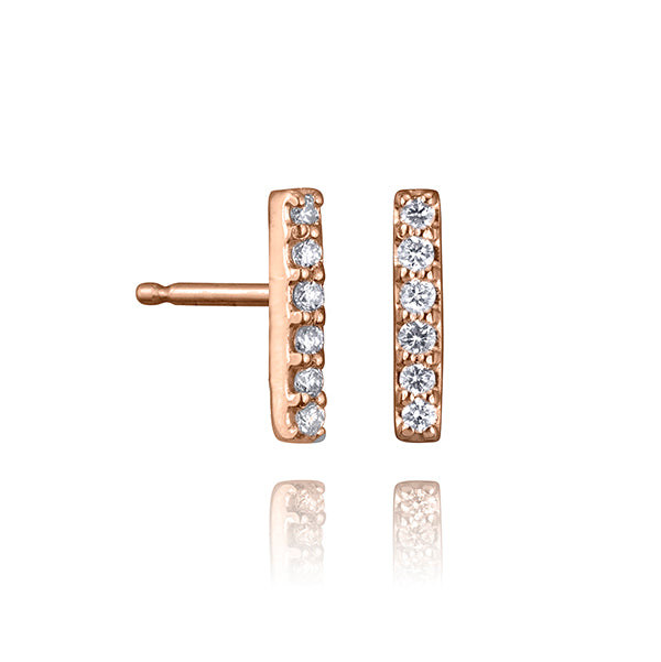 lafia straight and narrow diamond line stud rose gold
