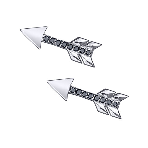 lafia stud collection black diamond arrow stud white gold