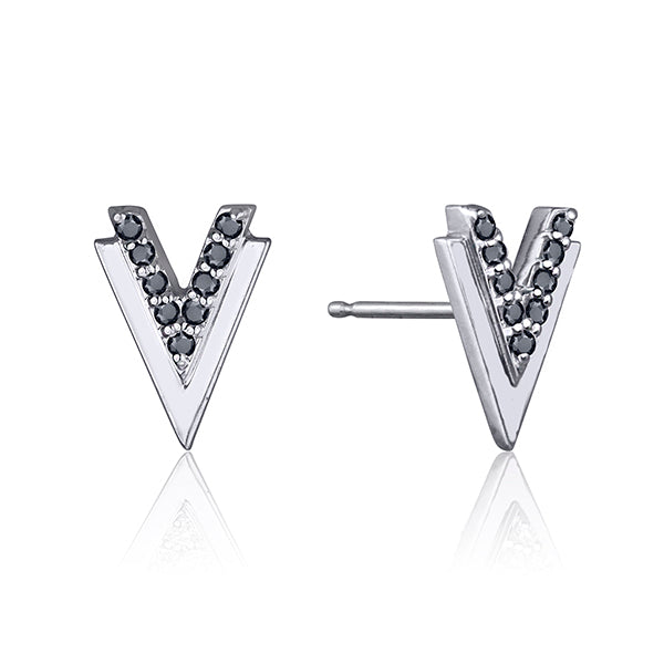 lafia V collection black diamond double chevron stud white gold