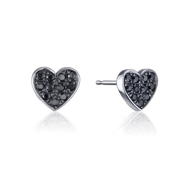 lafia stud collection black diamond heart stud white gold