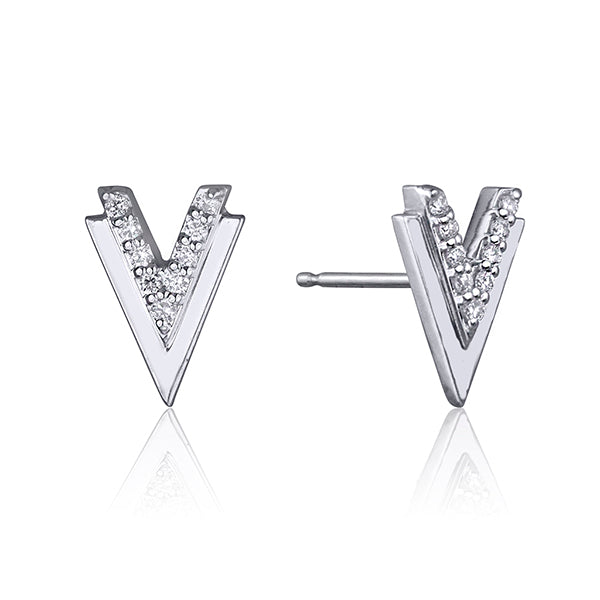 lafia V collection diamond double chevron stud white gold