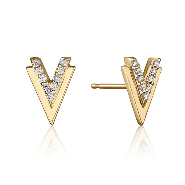lafia V collection diamond double chevron stud yellow gold