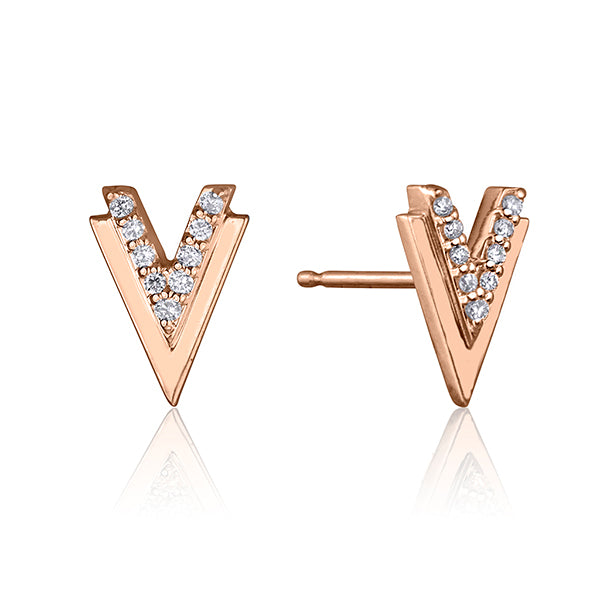 lafia V collection diamond double chevron stud rose gold