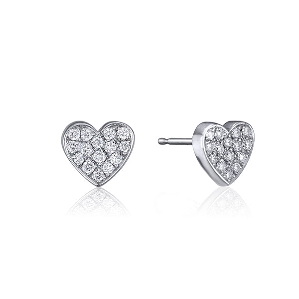 lafia stud collection diamond heart stud white gold