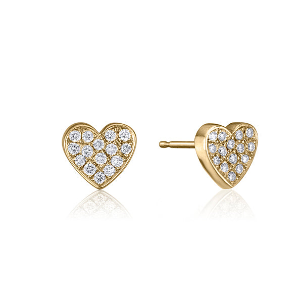 lafia stud collection diamond heart stud yellow gold