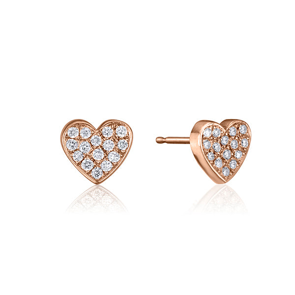 lafia stud collection diamond heart stud rose gold