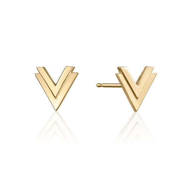 lafia V collection double chevron stud yellow gold