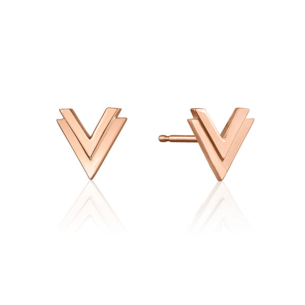 lafia V collection double chevron stud rose gold