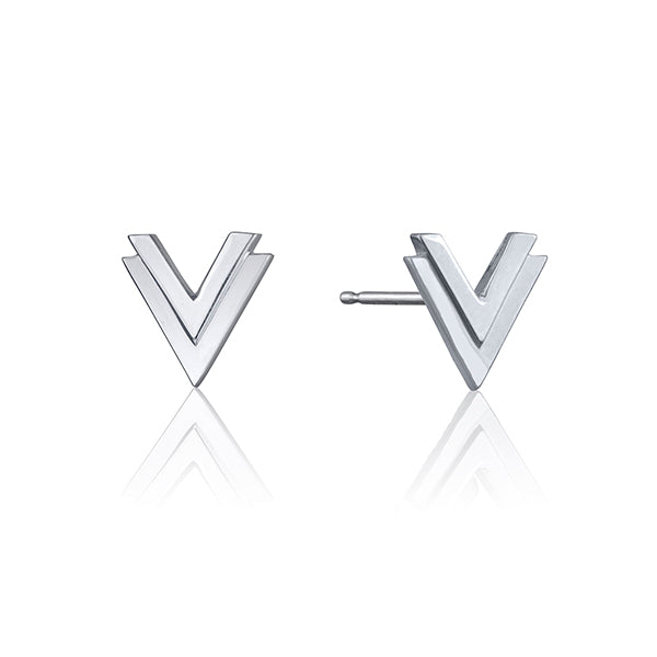 lafia V collection double chevron stud white gold