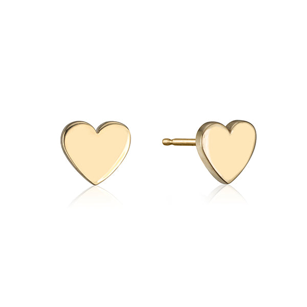 lafia stud collection heart stud yellow gold