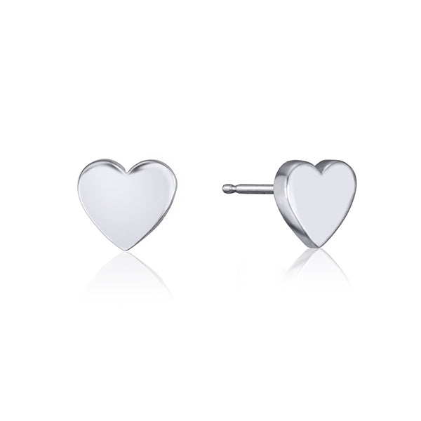 lafia stud collection heart stud white gold