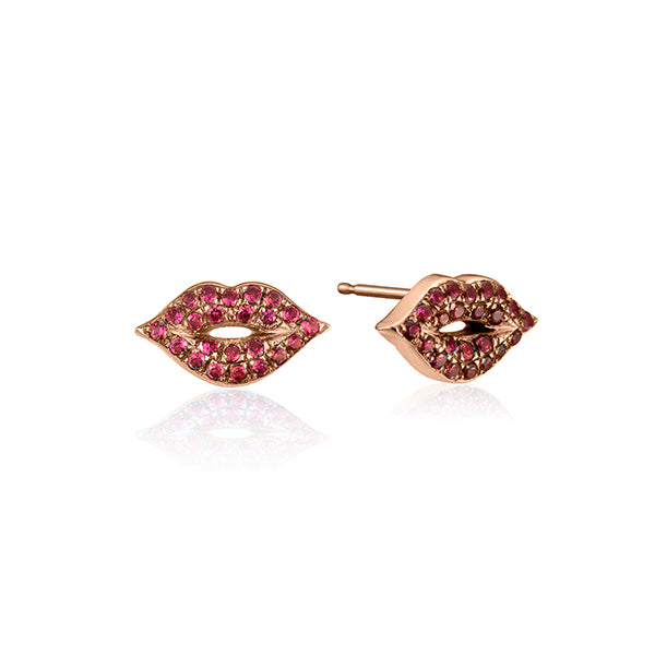 lafia stud collection ruby lips stud rose gold