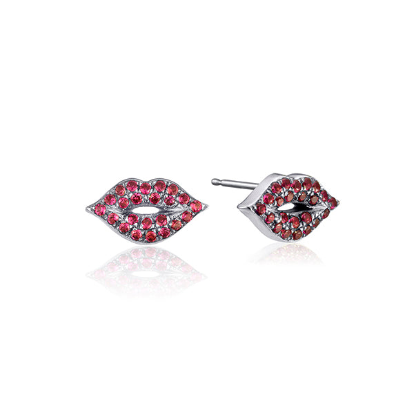 lafia stud collection ruby lips stud white gold