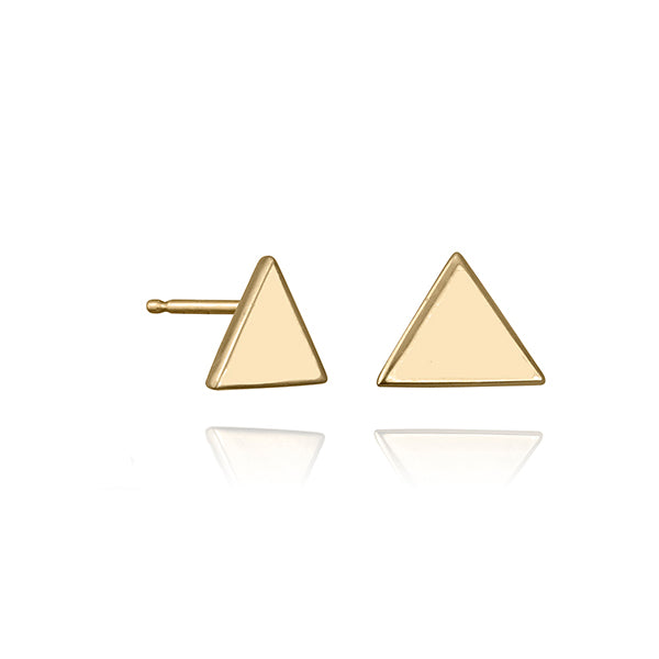 lafia V collection triangle stud yellow gold