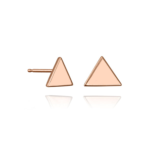 lafia V collection triangle stud rose gold