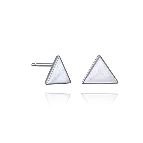 lafia V collection triangle stud white gold