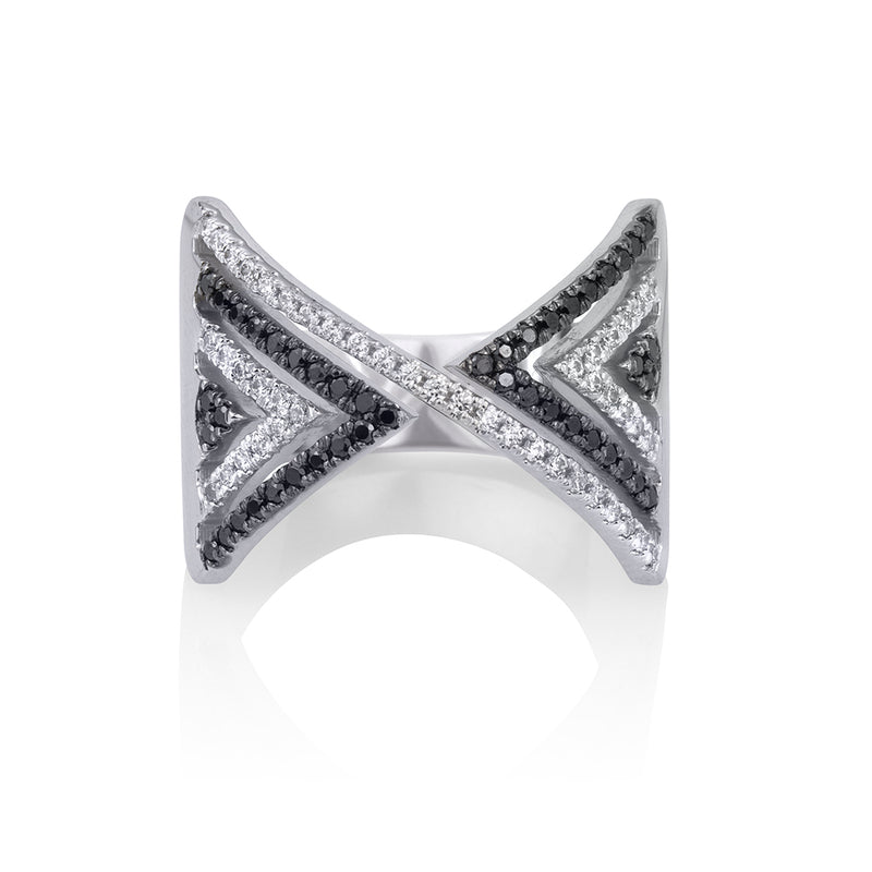 lafia V collection black and white diamond chevron ring white gold
