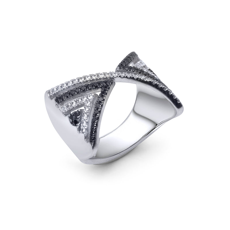 lafia V collection black and white diamond chevron ring top view