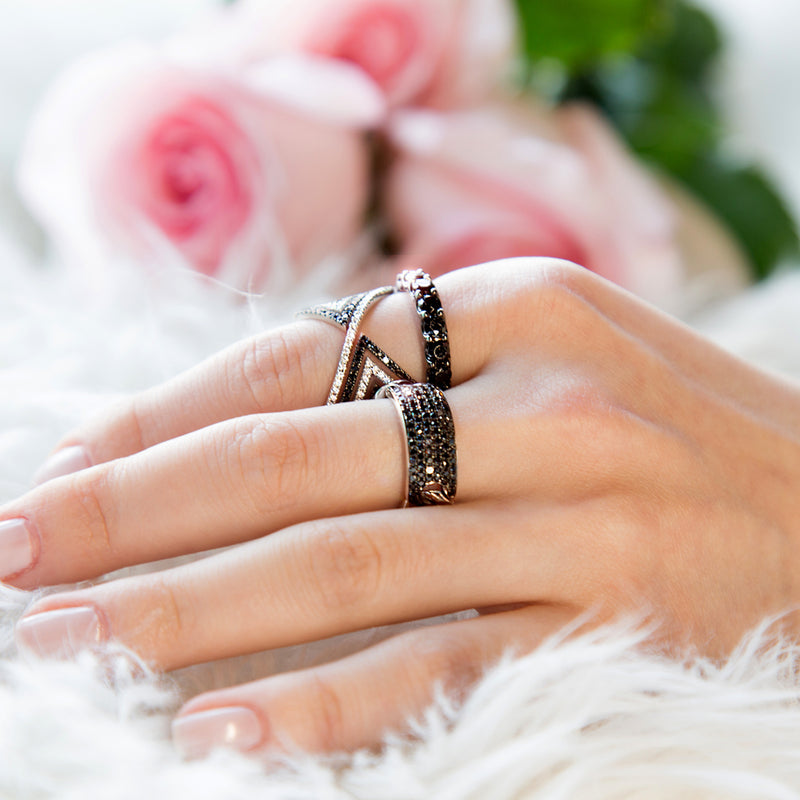 lafia V collection black and white diamond chevron ring on finger