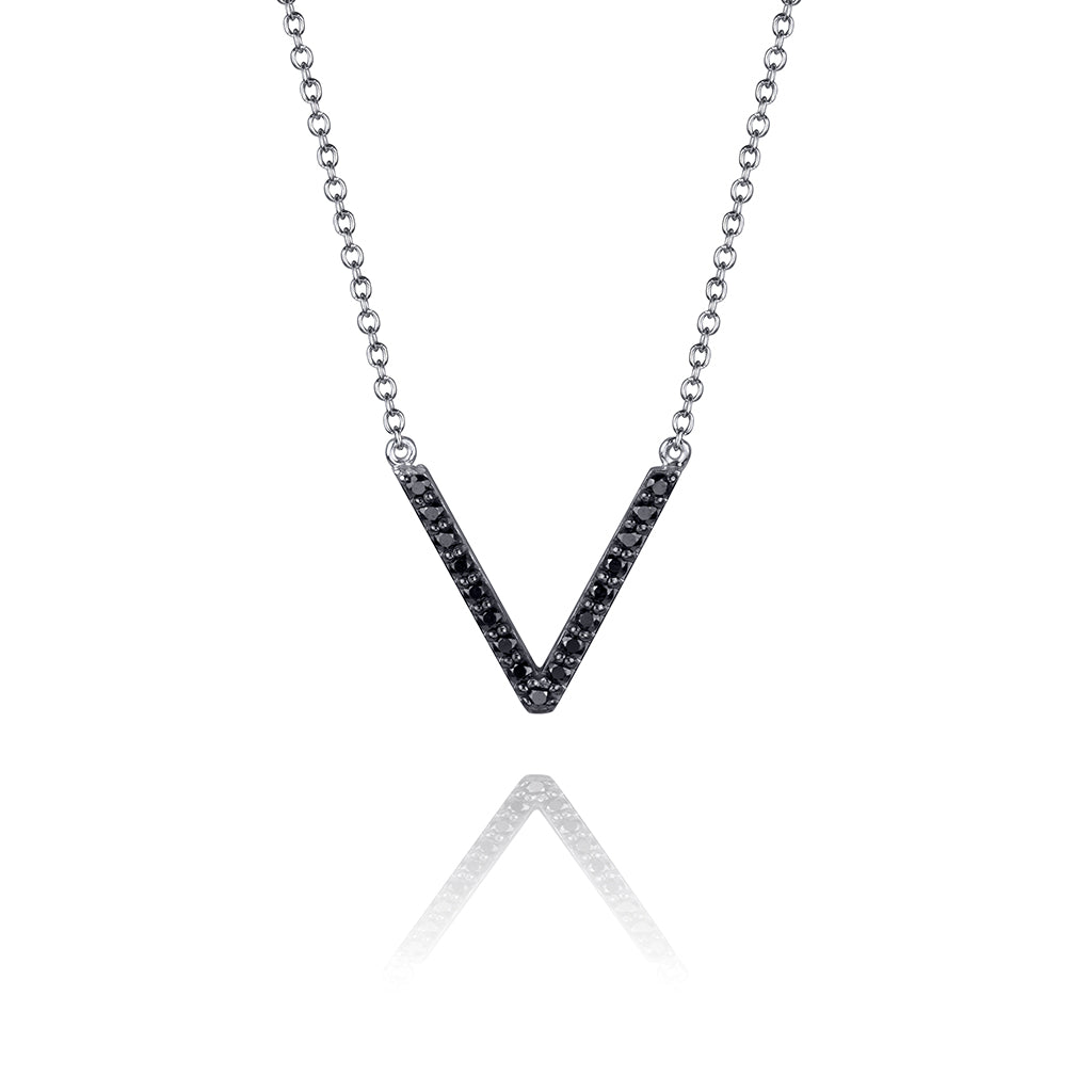 lafia V collection black diamond chevron necklace white gold