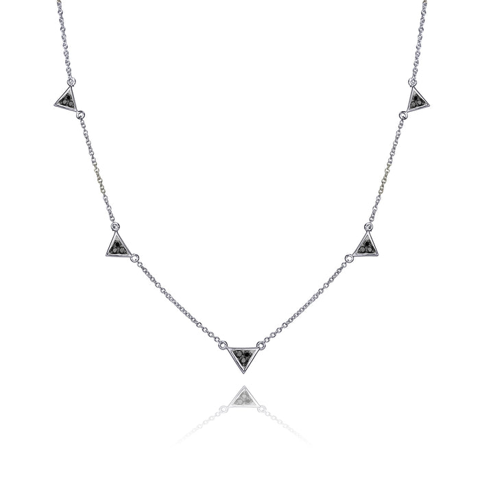 lafia V collection black diamond triangle by the yard necklace white gold