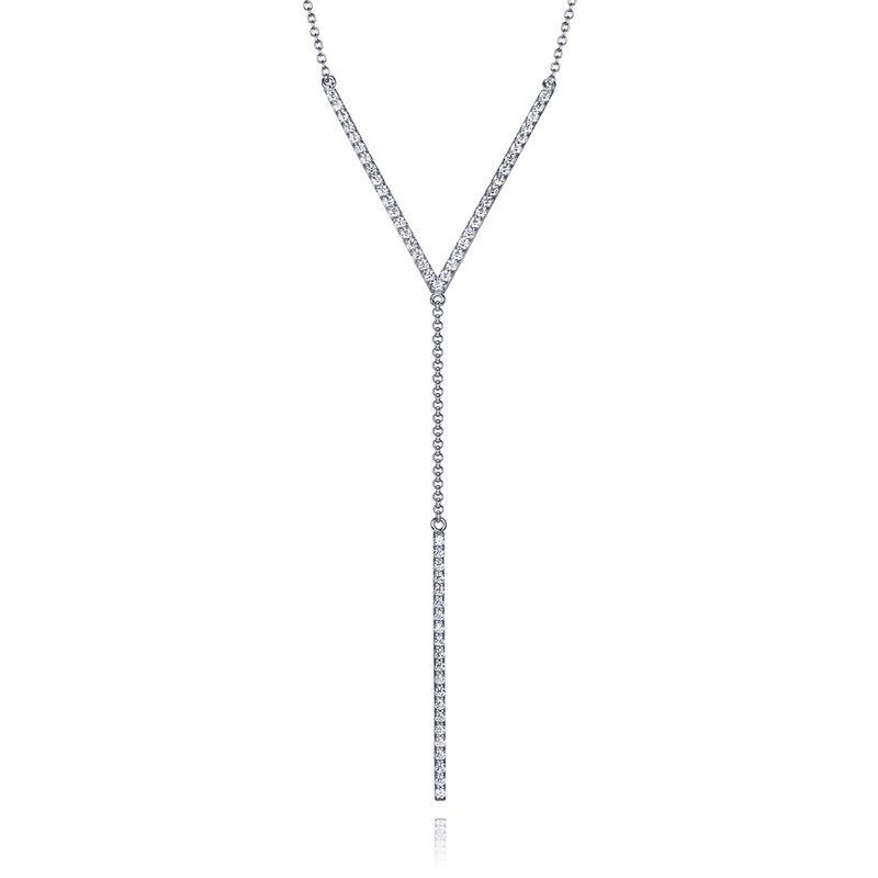 lafia V collection diamond chevron lariat necklace white gold
