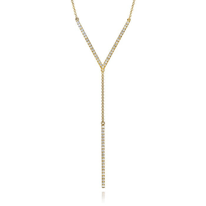 lafia V collection diamond chevron lariat necklace yellow gold