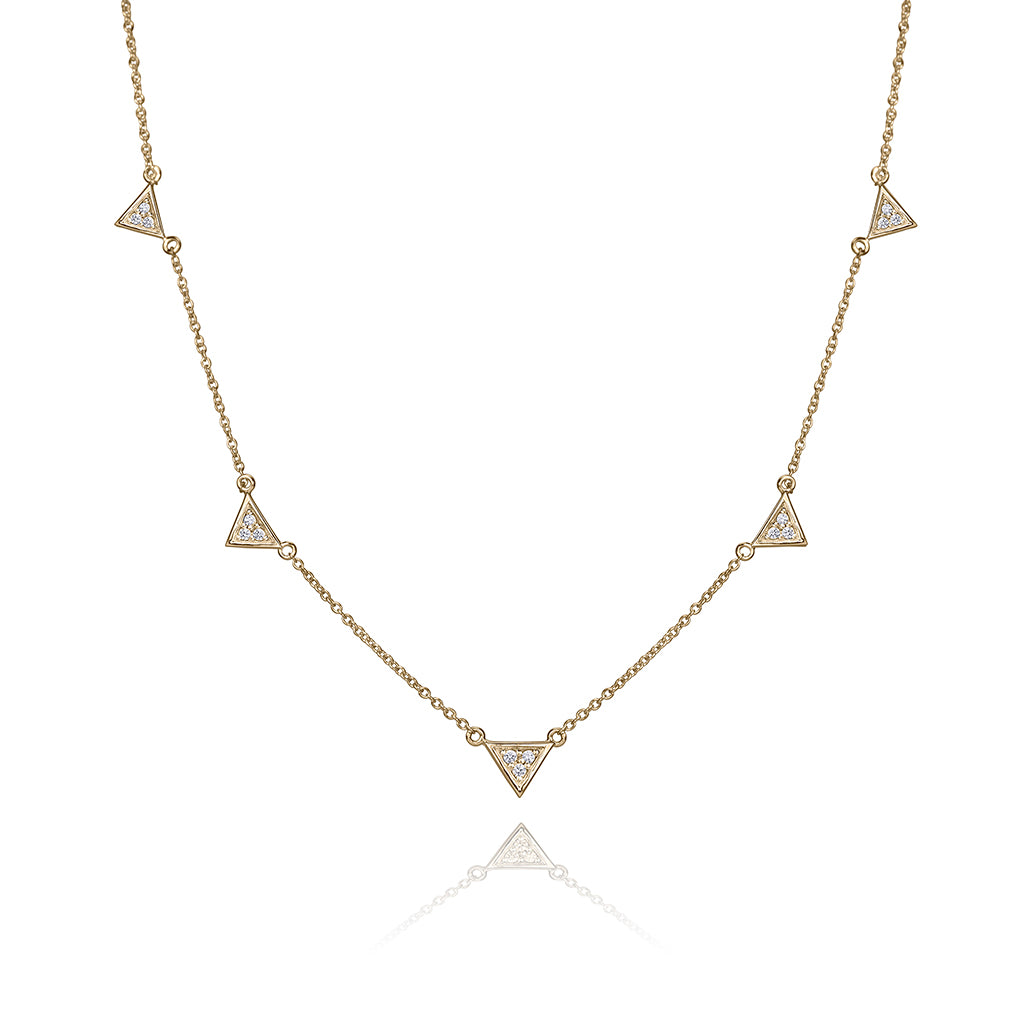lafia V collection diamond triangle by the yard necklace yellow gold