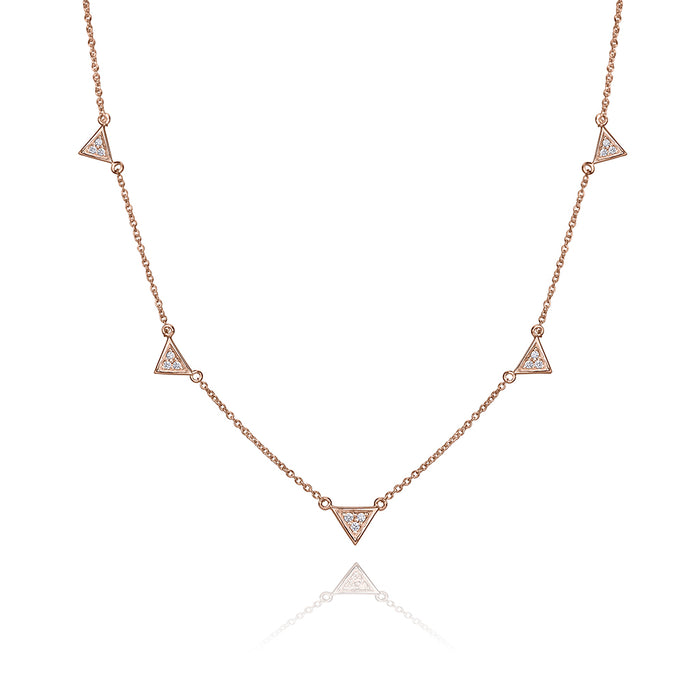 lafia V collection diamond triangle by the yard necklace rose gold