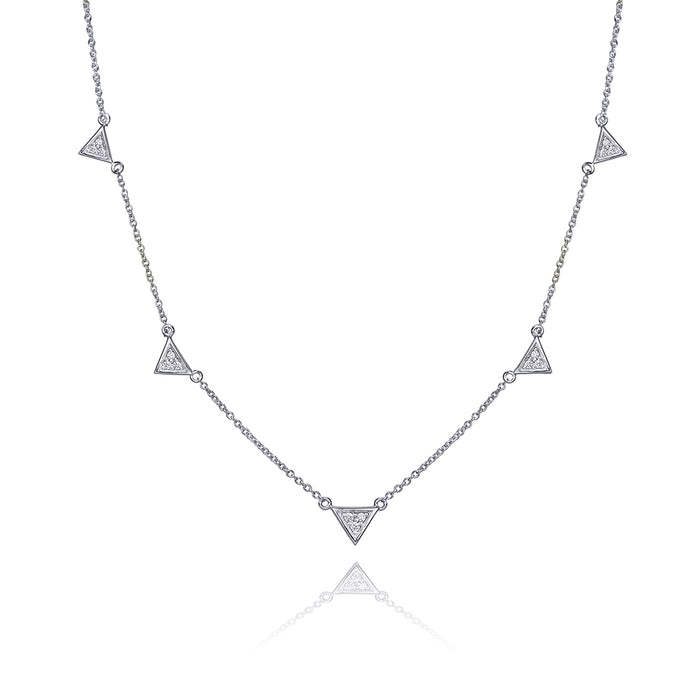 lafia V collection diamond triangle by the yard necklace white gold
