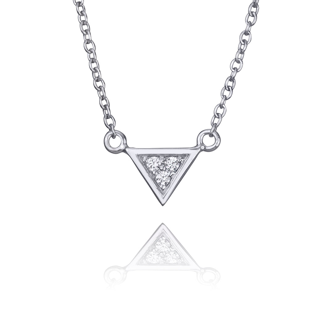 lafia V collection diamond triangle necklace white gold
