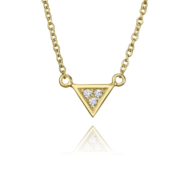 lafia V collection diamond triangle necklace yellow gold