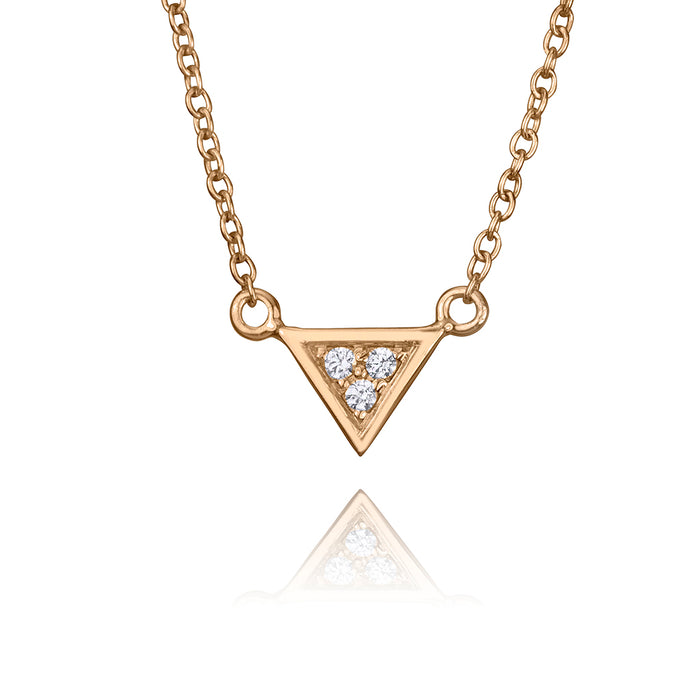 lafia V collection diamond triangle necklace rose gold