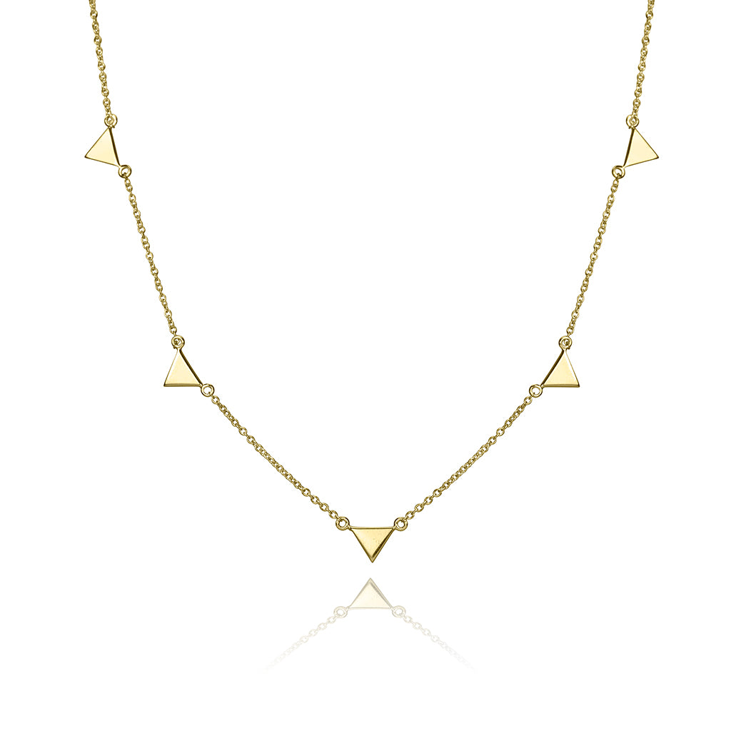 lafia V collection triangle by the yard necklace yellow gold