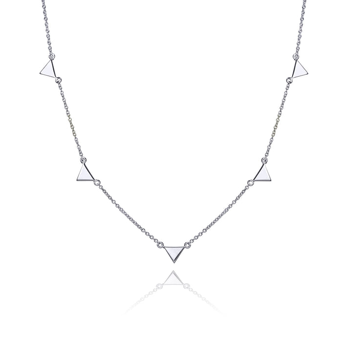 lafia V collection triangle by the yard necklace white gold