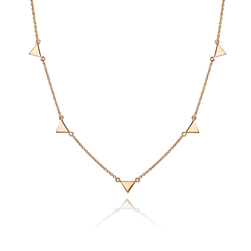 lafia V collection triangle by the yard necklace rose gold