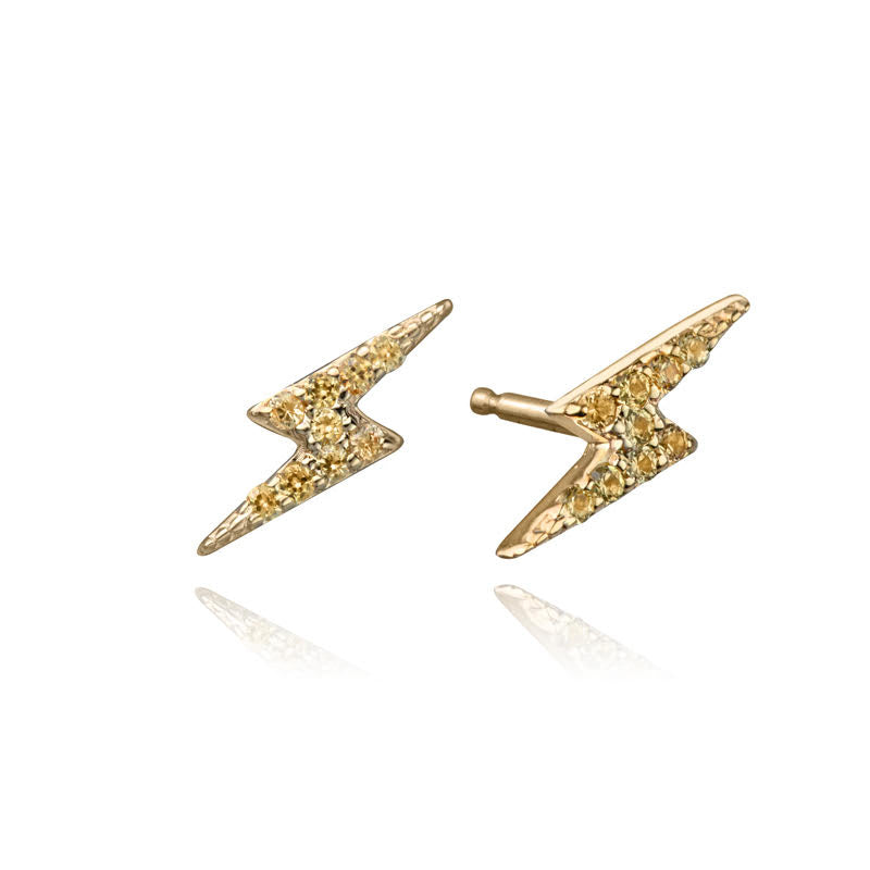 Lightning Studs with Yellow Canary Diamonds in 14k yellow gold