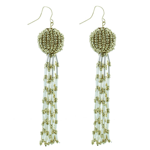 Aretes Beads Borla Gold Blanco