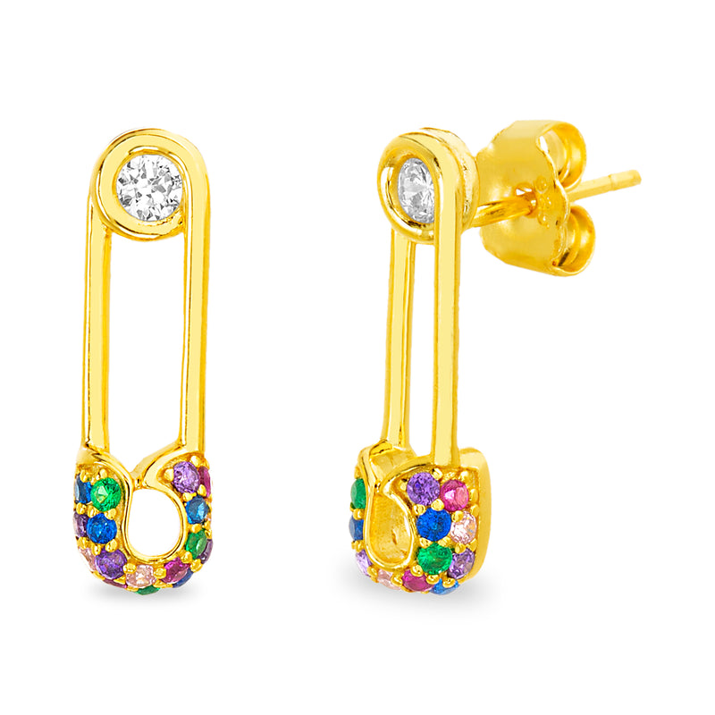 Arete mini pin multi cristales