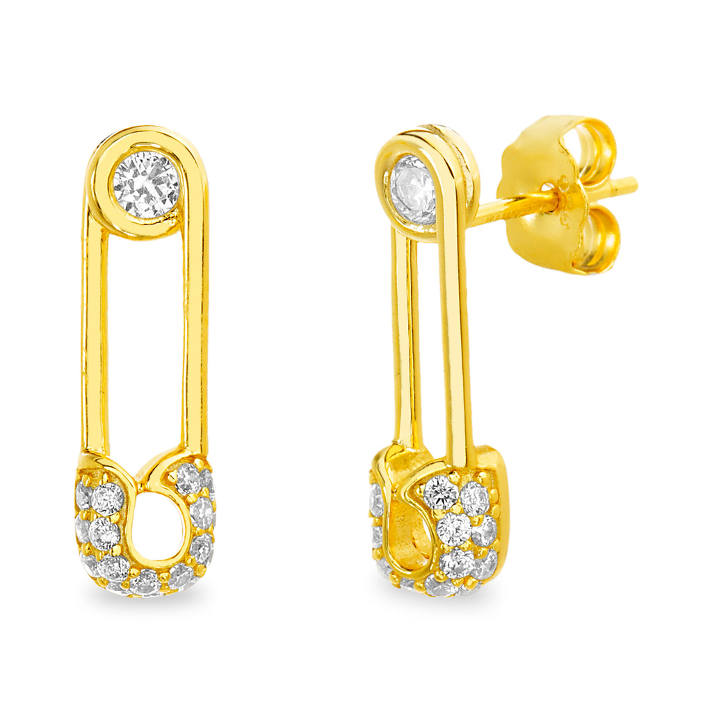 Arete mini pin cristales gold
