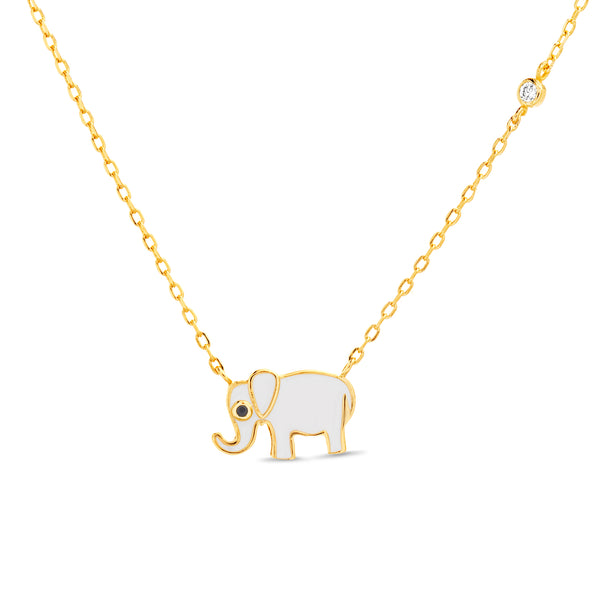 Collar elefante gold zircon
