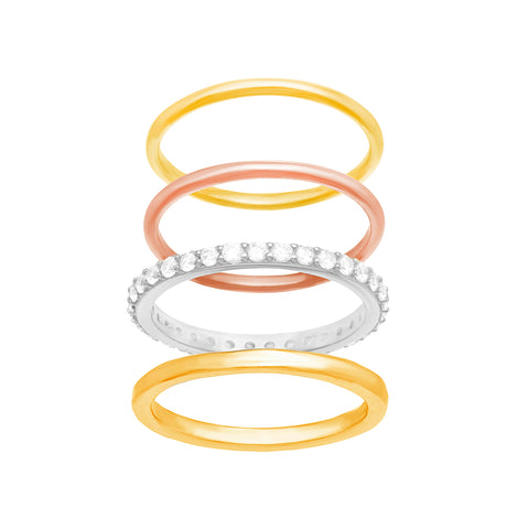 anillo set x 4 brillante solid