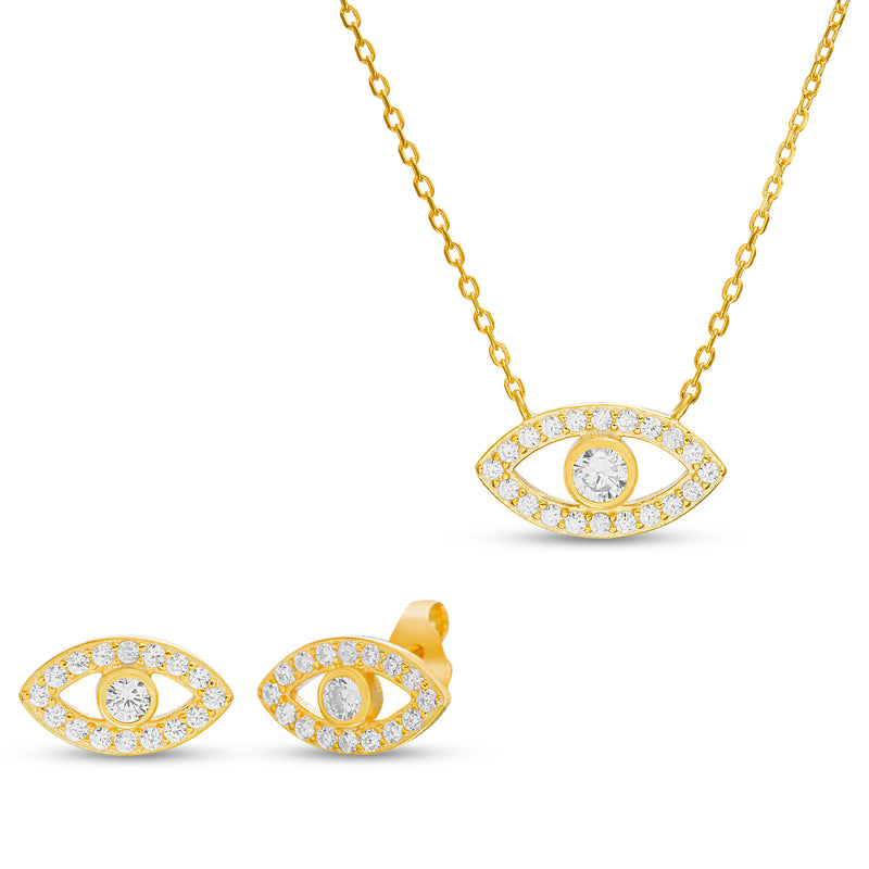 Set mini ojo turco oval zircon