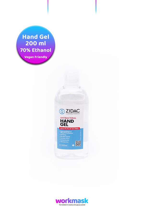 Antibacterial Hand Sanitising Gel - 200ml Bottle - Zidac Laboratories