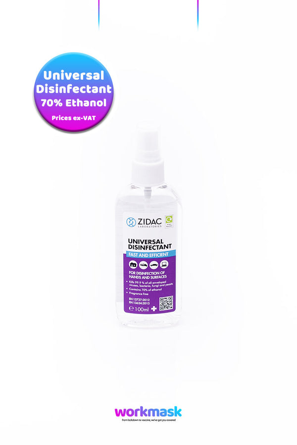Universal Disinfectant 70% Ethanol - 100ml Spray Bottle - Zidac Laboratories