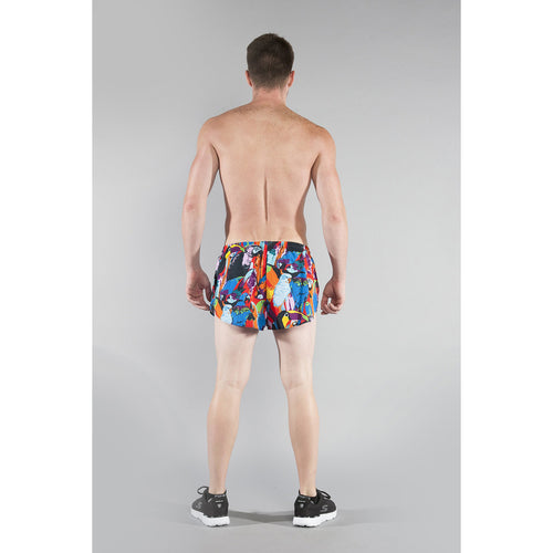 "Men's Stretch 1"" Elite Printed Split Run Short - NEPTUNE"
