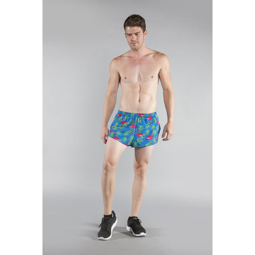 "Men's Stretch 1"" Elite Printed Split Run Short - Flamingo Turquoise"